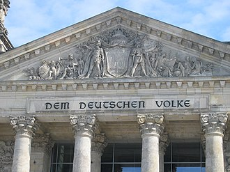 Volk - Dem deutschen Volke - To the German People, the dedication on the Reichstag building in Berlin.