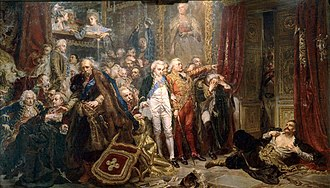 Sejm - Tadeusz Rejtan tries to prevent the legalisation of the first partition of Poland by preventing the members of the Sejm from leaving the chamber (1773). Painting by Jan Matejko