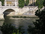 Remains of Pons Neronianus at low water in the foreground (the standing bridge is the modern Ponte Vittorio Emanuele II)