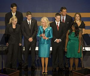 Cindy McCain - The full McCain family at the 2008 Republican National Convention. In the front row are the children with Cindy: Meghan, Jimmy, Jack, and Bridget. In the back row are the children associated with John McCain's first marriage: Andrew, Douglas, and Sidney.