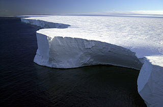 Largest recorded iceberg. Calved from the Ross Ice Shelf of Antarctica in March 2000
