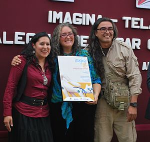 Centro Cultural Mexiquense - Museum director Thelma Morales with artisan Ana Karen Allende and Sinhué Lucas at opening of exhibition