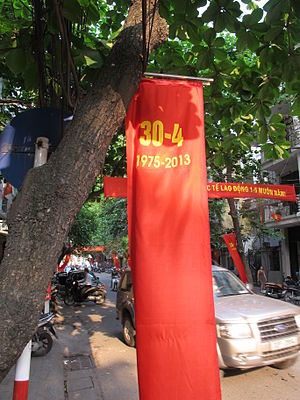 Reunification Day - Banner in Hanoi for Reunification Day