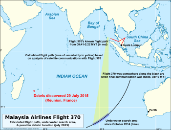 Reunion debris compared to MH370 flight paths and underwater search area.png
