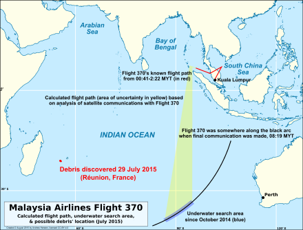 Location of flaperon discovery relative to Flight 370's flight path and the main search area Reunion debris compared to MH370 flight paths and underwater search area.png