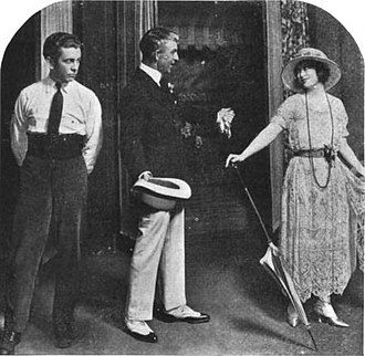 Arthur Byron - L-R: Richard Barbee, Arthur Byron, and Margaret Lawrence in the Broadway production of Transplanting Jean (1921)