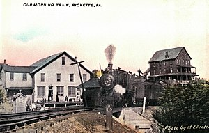 Ricketts, Pennsylvania - Postcard of Ricketts, showing the Lehigh Valley Railroad train