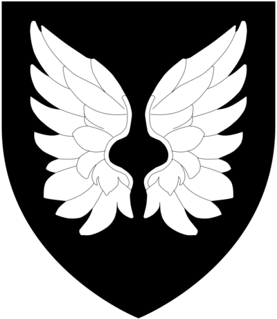 Arms of Ridgeway (modern): Sable, a pair of wings conjoined and elevated argent RidgewayArms.png