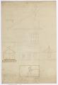 Ritning till uthusbyggnad innehållande tvättstuga, ett rum och en bod vid Charlottendal, 1865 - Hallwylska museet - 102478.tif