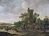 River landscape, people and a cart in front of a tower, by Jan Steen.jpg