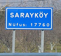 Road sign of Sarayköy, Denizli.jpg