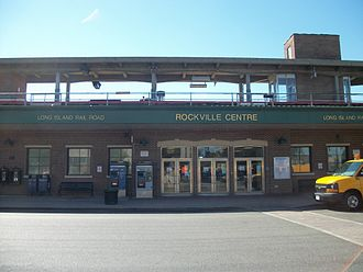 Rockville Centre station - The main entrance of Rockville Centre station along Front Street