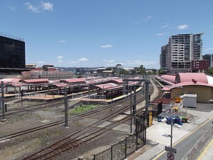 Roma Street railway station - Westbound view in December 2012