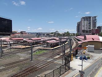Roma Street railway station - Westbound view in December 2012