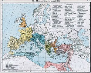 Theodosius I - The administrative divisions of the Roman Empire in 395, under Theodosius I.