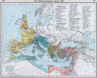 Sack of Rome (410) - The administrative divisions of the Roman Empire in 395, under Theodosius I