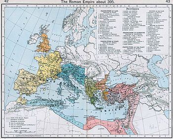 The Roman Empire and its administrative divisions, ca. 395 AD. For a more detailed version, see this map.