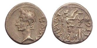 Augusta Emerita - Roman Quinarius of Emperor Augustus, struck in Emerita Augusta between 25-23 BC, Legate P. Carisius.