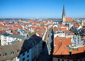 St. Peter's Church, Rostock - View over the eastern part of Rostock's old town towards St. Petri