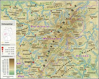 Übersichtskarte über das Rothaargebirge