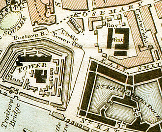 East Smithfield - Map showing the Tower of London, St Katharine Docks and the Royal Mint. The latter moved from the Tower of London to new premises c.1809