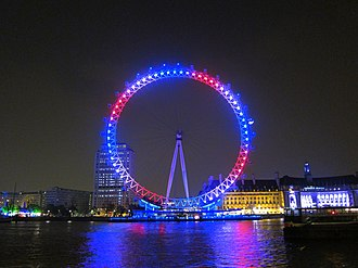 Wedding of Prince William and Catherine Middleton - On the evening of the wedding, the London Eye was lit in the colours of the Union Flag