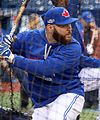 Russell Martin takes batting practice before the AL Wild Card Game. (29527550224).jpg