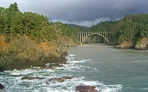 Frederick W. Panhorst Bridge - View of the bridge from the south headland in Russian Gulch State Park