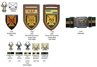 7 South African Infantry Battalion - SADF era 7 SAI insignia