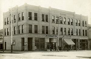 History of San Diego - The upper floor of the Hill building, located at 6th and F streets, was the first location of the San Diego Normal School. Students and staff can be seen in the windows here in 1898. The school would later expand and change names several times before fixing on the current name, San Diego State University