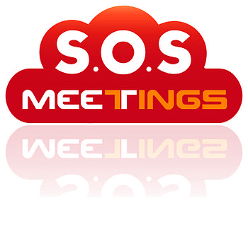 English: SOS Meetings Logo