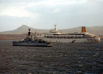 Argentine surrender in the Falklands War - HMS Andromeda and SS Canberra outside Port Stanley on 16 June 1982