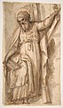 Saint Andrew, Apostle, with Transverse Cross, Book, and Fish, verso- Architectural sketch in red chalk MET DP811533.jpg