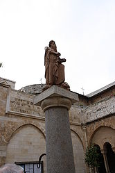 Saint Jerome statue in Church of Saint Catherine courtyard.jpg