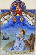 John en una isla, un águila a su lado, coronada por Cristo y 24 ancianos, una ciudad en la imagen de fondo