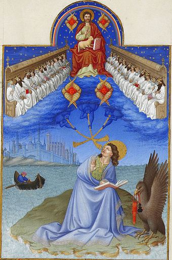 Vision of John of Patmos from the Book of Revelation (4:4)--four seraphim surround the throne of Christ, twenty-four elders sit on thrones to either side (Tres Riches Heures du Duc de Berry) Saint John on Patmos.jpg