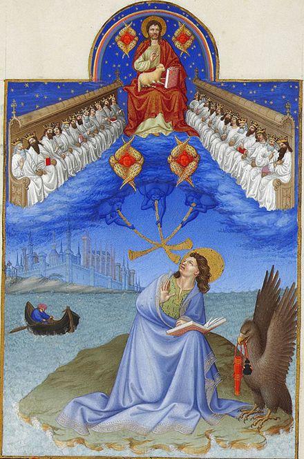 یکی از رویاهای «یوحنای پاتموس» در مکاشفه (۴:۴) که در کتاب مصور «ساعات خوش دوک دوبری» به تصویر کشیده شدهاست.
