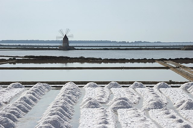 7th place: Salt ponds in Trapani: harvesting salt. Windmill in the background