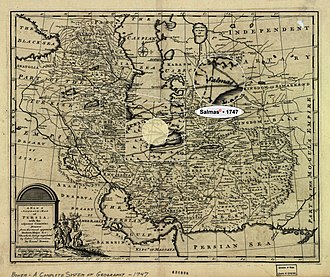 """Salmas - Salmas in 1747 Bowen Map of the """"Persian Empire"""" at the Time of Afsharid Dynasty • Modified by Hassan Jahangiri"""