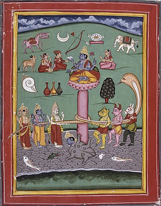 Kamadhenu - Kamadhenu (left, 2nd from top) depicted in a scene of the Churning of the Cosmic Ocean