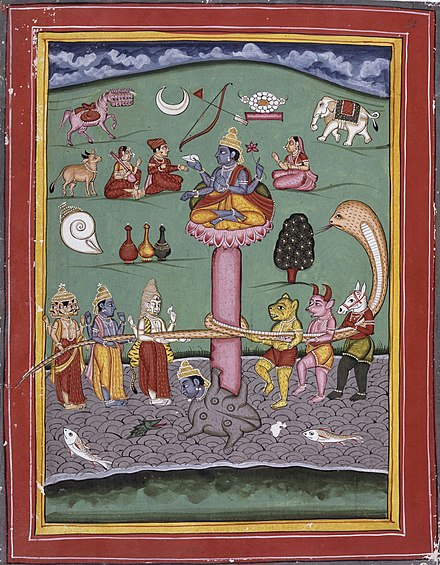 Kamadhenu (left, 2nd from top) depicted in a scene of Samudra manthan - Kamadhenu