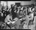 San Francisco, California. Residents of Japanese descent registering for evacuation at Wartime Civi . . . - NARA - 536215.tif
