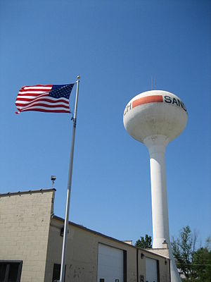 Sandwich, Illinois - Water tower near township hall