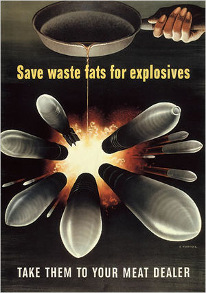 Henry Koerner - Save Waste Fats for Explosives by Henry Koerner, 1943. Printed by the Government Printing Office for the Office of War Information NARA Still Picture Branch (NWDNS-44-PA-380)