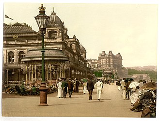 The Spa, Scarborough - Nineteenth century strollers in front of the Spa