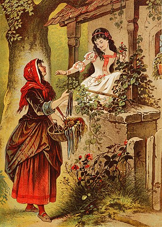 Queen (Snow White) - The Queen in disguise, offering a poisoned apple to Snow White (a late 19th-century German illustration)