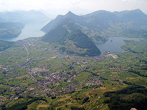 Canton of Schwyz - Schwyz valley, with Schwyz town in the center foreground, Rigi mountain in the right background, Lake Lucerne and Brunnen on the left and Lake Lauerz on the right