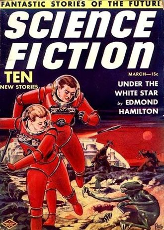 Future Science Fiction and Science Fiction Stories - Cover of the first issue of Science Fiction, dated March 1939.  The artwork is by Frank R. Paul