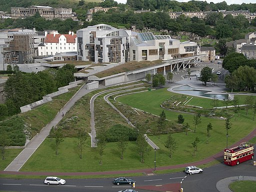 Scottish Parliament building viewed from Arthurs Seat August 2007