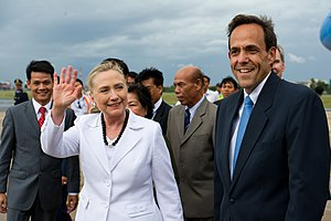 William E. Todd - Ambassador Todd, alongside former Secretary of State, Hillary Clinton in Phnom Penh.